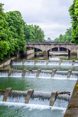 Fototapete - Empty bridges, river banks and parks in Munich, Germany.