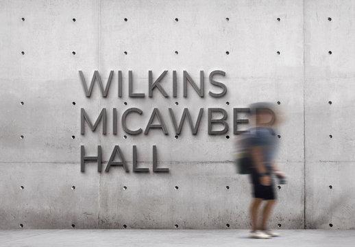 Concrete Sign Logo Mockup on Wall