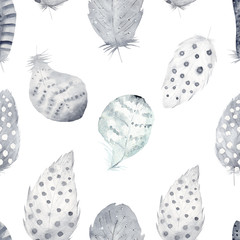 Hand drawn watercolor feather set. Neutral color illustration isolated on white.