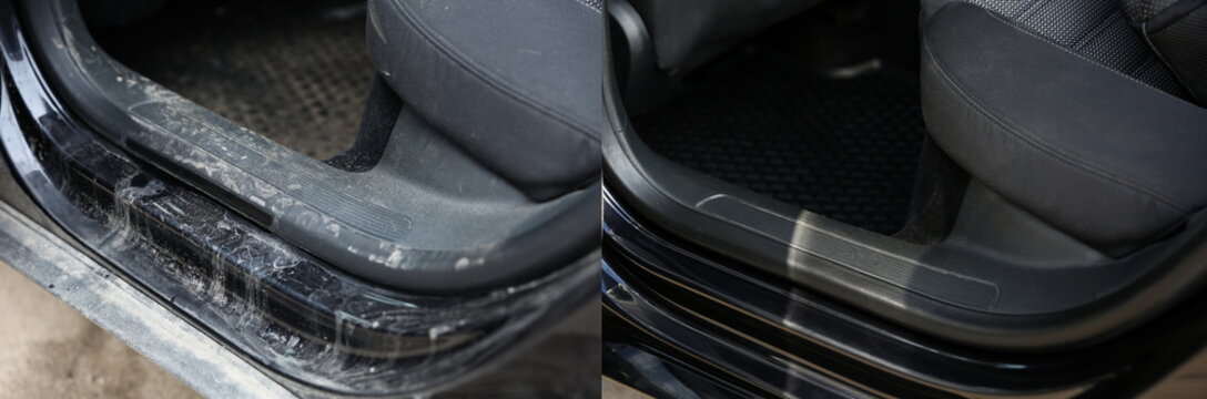 car interior before and after cleaning close up