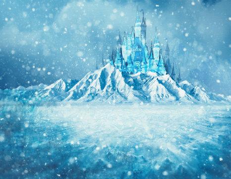 Paisaje nevado con hielo y castillo encantado
