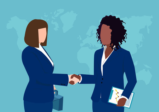 Vector of two business women shaking hands isolated on world map background.