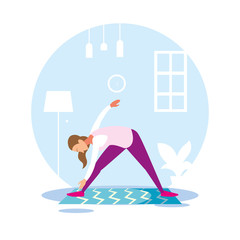 woman out doing exercises at home