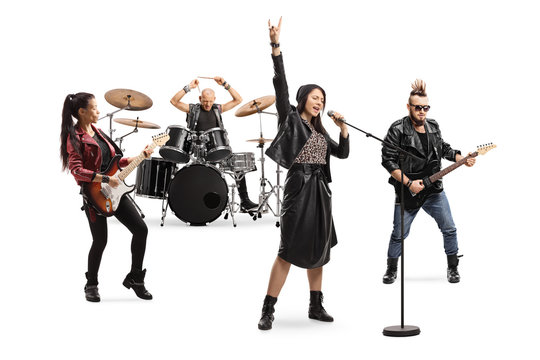 Female singer, male and female guitar players and a drummer in a band