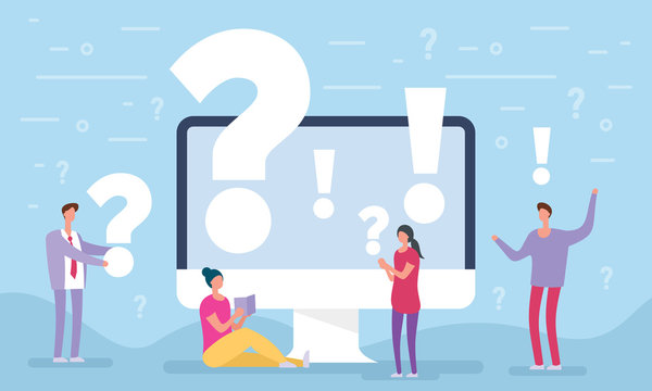 People asking questions around a huge question mark in computer. Question mark concept. Vector illustration for web banner, infographics, mobile. Landing page template. FAQ business manager.