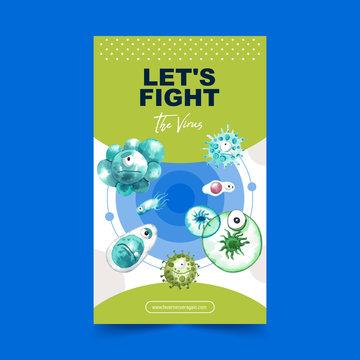 Virus poster design with bacillus, coronavirus watercolor illustration.