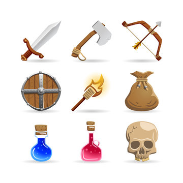 Vector set of medieval fantasy icons. Includes a sword, an axe, a bow, an arrow, a round wooden shield, a torch, a gold purse, a magic potion bottle, a life potion bottle and a fractured skull. Isolat