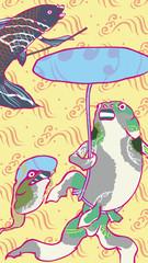 浮世絵 金魚 カラフル