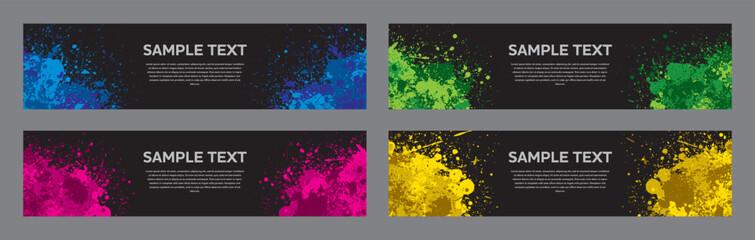 Splash ink banner set. Backgrounds for poster, banner or flyer. Vector.飛び散ったインクのベクターセット