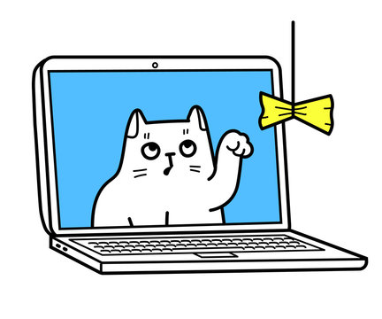 A Vector Cartoon Illustration Of A Social Distance Cat In A Laptop Playing With A Toy Via Video