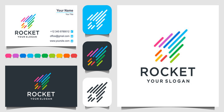 Rocket digital technology vector logo template. Suitable for business. logo design, 3 favicons and business card Premium Vector.