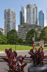 High rise architecture and park in Vancouver BC.