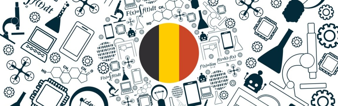 Innovation and technology concept. Circle frame with thin line icons. Flag of the Belgium