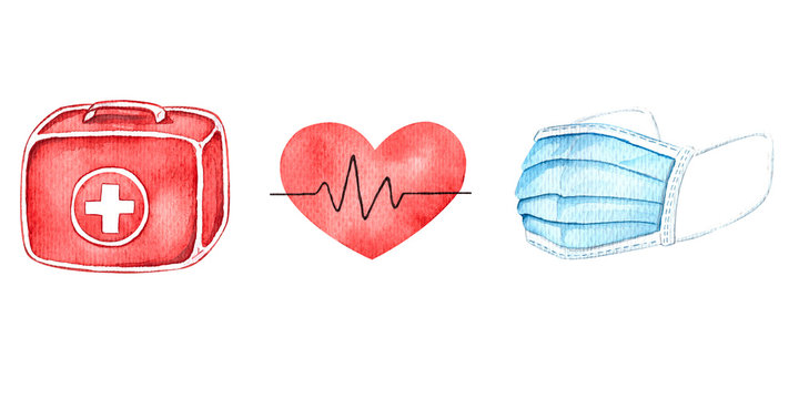Medical equipment, watercolor illustrations. First aid kit, pulse, medical mask, stethoscope, tablets.