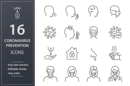 Coronavirus line icons set. Black vector illustration. Editable stroke.