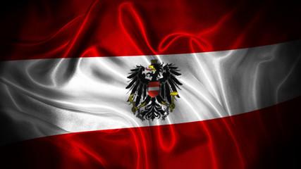 Close up waving flag of Austria. National Austria flag. Fototapete