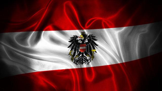 Close up waving flag of Austria. National Austria flag.