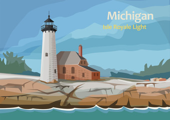 Isle Royale Light, northern Michigan, United State