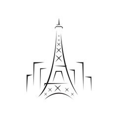 """custom line abstract """"Eiffel Tower"""" symbol in the middle of building isolated on white background"""