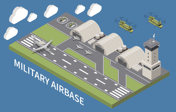 Military Air Force Base Isometric