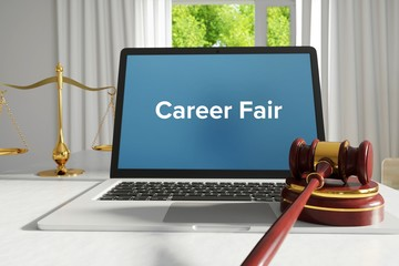 Career Fair – Law, Judgment, Web. Laptop in the office with term on the screen. Hammer, Libra, Lawyer.