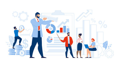 Multi-Ethnic Team Certified Auditor Doing Research. Man and Woman Character Analyzing Graph and Chart Financial Audit Statistic Report. Leadership and Successful Business. Vector Illustration