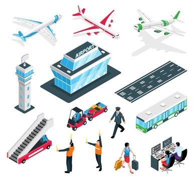 Isometric Airport Icon Set
