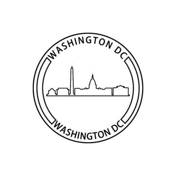 Washington D.C. sign stamp icon isolated on white background
