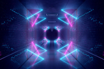 Spoed Fotobehang Wanddecoratie met eigen foto Glowing blue and pink neon light tubes in long dark underground tunnel reflecting on walls and floor 3D rendering