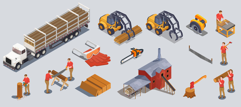 Timber Mill Icons Collection