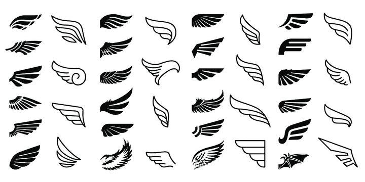 Wing Icons Set Vector illustration white background