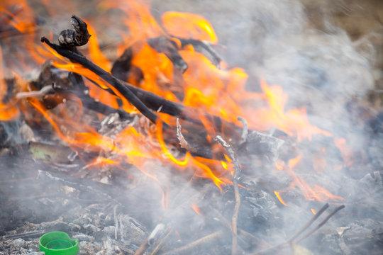 trash burns in the yard