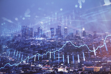Financial graph on night city scape with tall buildings background double exposure. Analysis concept. Fototapete