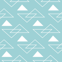 Geometric seamless design. White triangle pattern on light blue background