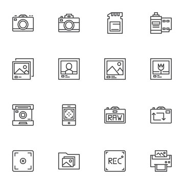 Photography line icons set. linear style symbols collection, outline signs pack. vector graphics. Set includes icons as photo camera, sd card, film strip, viewfinder, picture printing, gallery folder