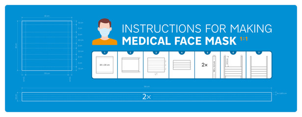 Vector instruction for making medical face mask. Blueprint 1:1 tutorial. Blue background. Wall mural
