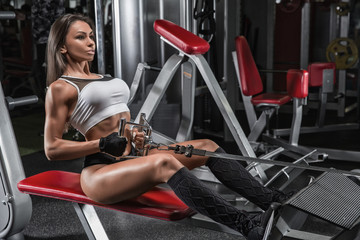 Sportive young woman in a gym training. Working out in a fitness gym. Wall mural