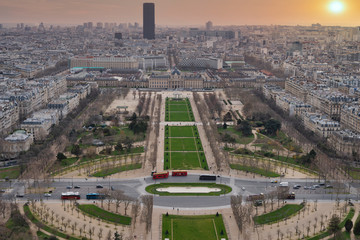 top view of the city of paris