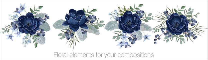 Vector floral set with leaves and flowers. Elements for your compositions, greeting cards or wedding invitations. Blue anemones