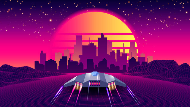 Arcade Space Ship Flying to the Sunset. Retro 80s Fashion Sci-Fi Background Landscape. Digital Retro Cityscape Sci-Fi Summer Landscape with 3D Mountains, 80s Style Synthwave or Retrowave illustration.
