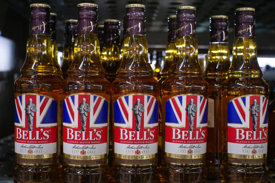 Tyumen, Russia - November 20, 2019: Bell's Whiskey in 1825 was the birthplace of Bell's brand. Whiskey was created by Arthur Bell. Sale of alcoholic beverages in the hypermarket Metro.
