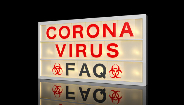 3d rendering of a LED lightbox with text coronavius - faq