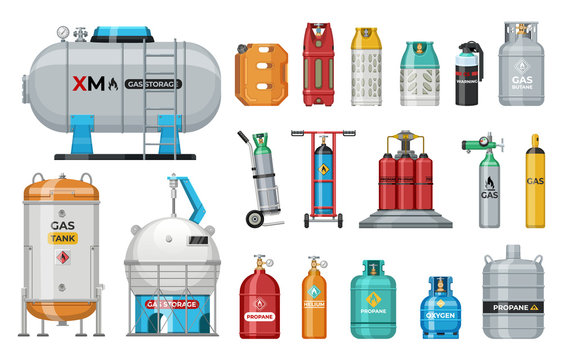 Set of vector gas cylinder. Cylindrical container with liquefied compressed gases with high pressure and valves isolated. Lpg gas-bottle and gas-cylinder. Safety fuel tank of helium butane acetylene