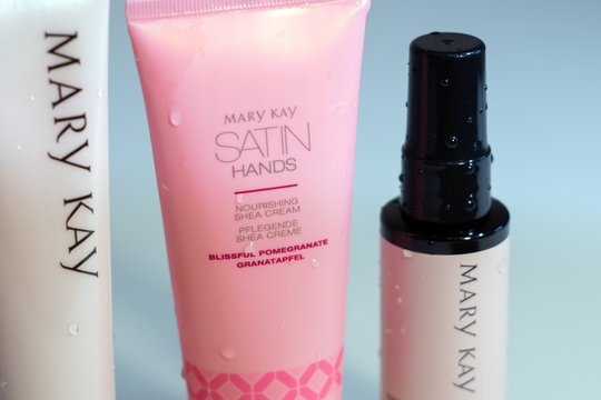 Tyumen, Russia - November 25, 2019: satin hands products by Mary Kay. Hand cream close-up, selective focus
