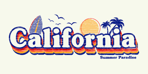 retro graphic and california fashion slogan for different apparel and T-shirt. - Vector