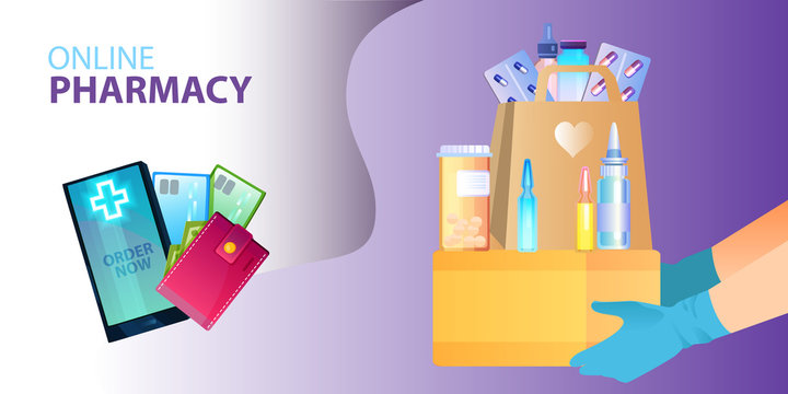 Vector online pharmacy concept with smartphone, wallet, payment cards, paper bag, ampules, pills, blisters, bottles, hands in gloves. Contactless medicine delivery concept in flat style