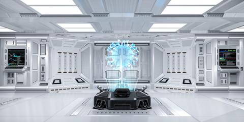 Futuristic Sci-Fi Hallway interior with Hologram Machine displaying Coronavirus or Covid-19, 3D Rendering