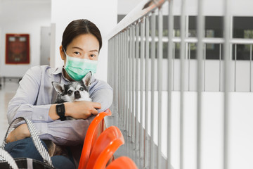 Woman in protective surgical mask holding dog Protection coronavirus. Covid-19 concept.