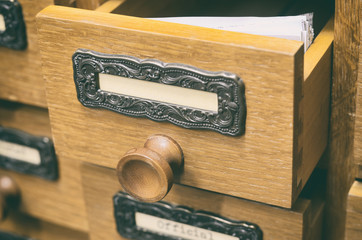 Old wooden archive files catalog drawer