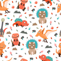 Dinosaurs seamless pattern for kids, Creative vector childish background